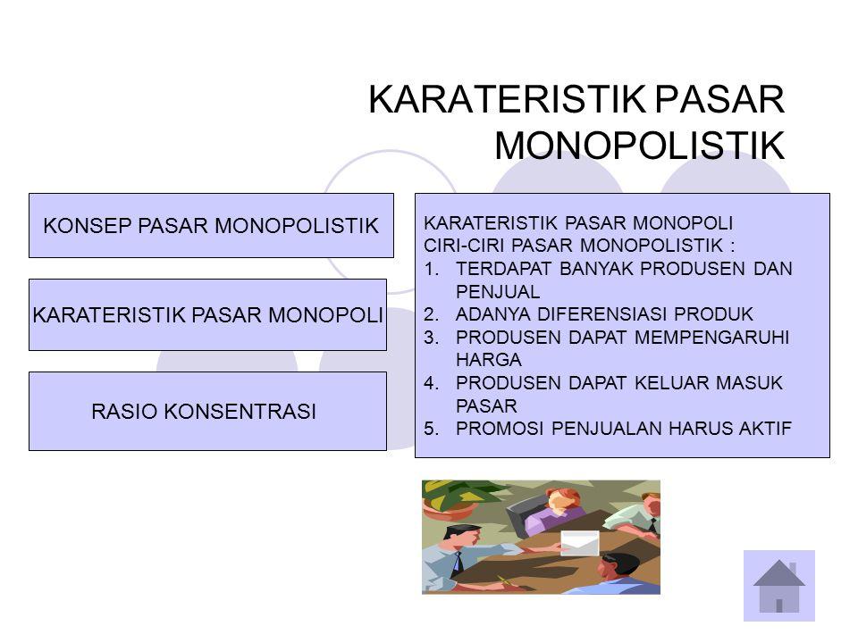 RASIO KONSENTRASI KARATERISTIK PASAR MONOPOLI KONSEP PASAR MONOPOLISTIK RASIO KONSENTRASI PASAR MONOPOLISTIK MERUPAKAN SUATU STRUKTUR PASAR DIMANA TERDAPAT BANYAK PRODUSEN YANG MENAWARKAN PRODUK SERUPA NAMUN MEMILIKI PERBEDAAN DALAM BEBERAPA ASPEK.