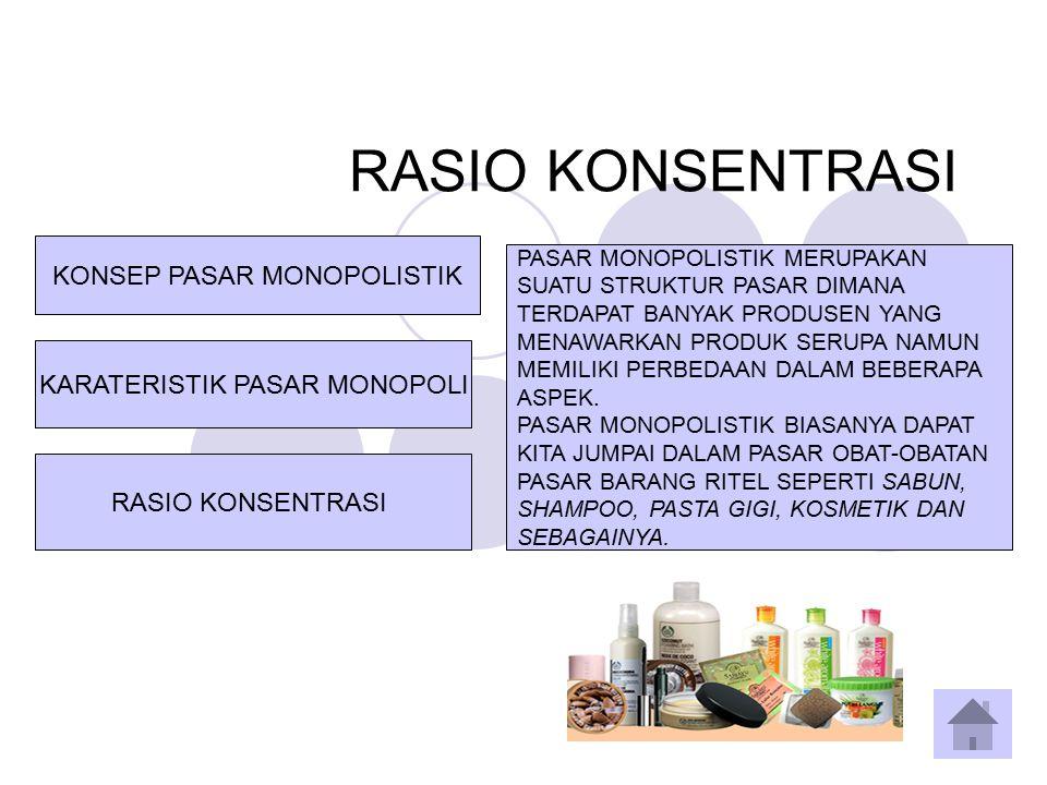 RASIO KONSENTRASI KARATERISTIK PASAR MONOPOLI KONSEP PASAR MONOPOLISTIK RASIO KONSENTRASI PASAR MONOPOLISTIK MERUPAKAN SUATU STRUKTUR PASAR DIMANA TER