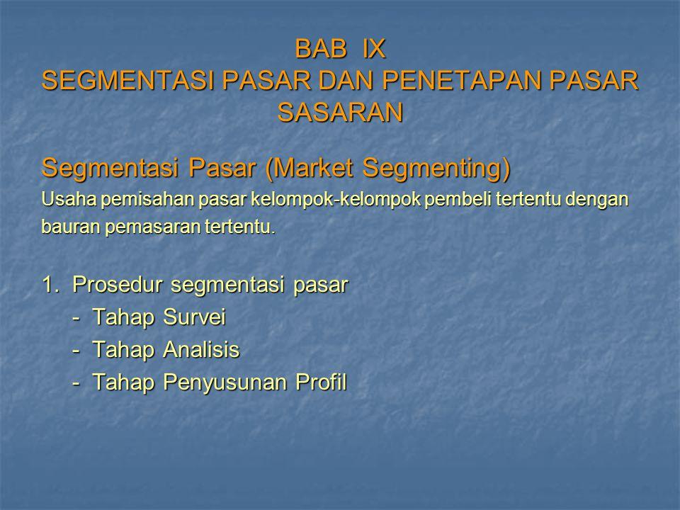 BAB IX SEGMENTASI PASAR DAN PENETAPAN PASAR SASARAN Segmentasi Pasar (Market Segmenting) Usaha pemisahan pasar kelompok-kelompok pembeli tertentu deng