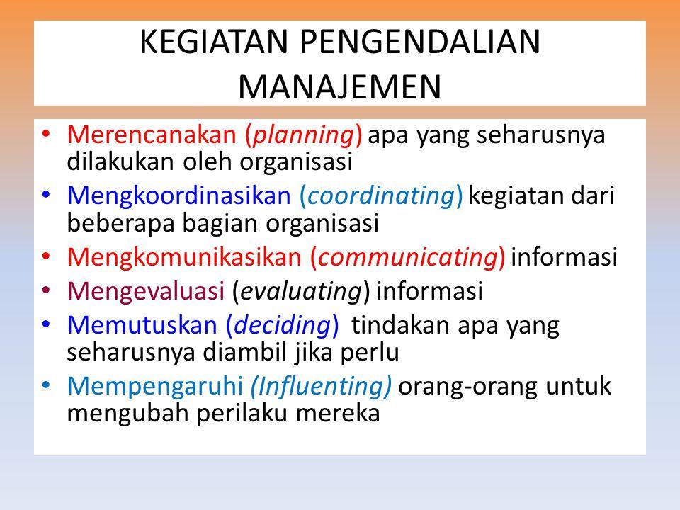 KEGIATAN PENGENDALIAN MANAJEMEN Merencanakan (planning) apa yang seharusnya dilakukan oleh organisasi Mengkoordinasikan (coordinating) kegiatan dari beberapa bagian organisasi Mengkomunikasikan (communicating) informasi Mengevaluasi (evaluating) informasi Memutuskan (deciding) tindakan apa yang seharusnya diambil jika perlu Mempengaruhi (Influenting) orang-orang untuk mengubah perilaku mereka