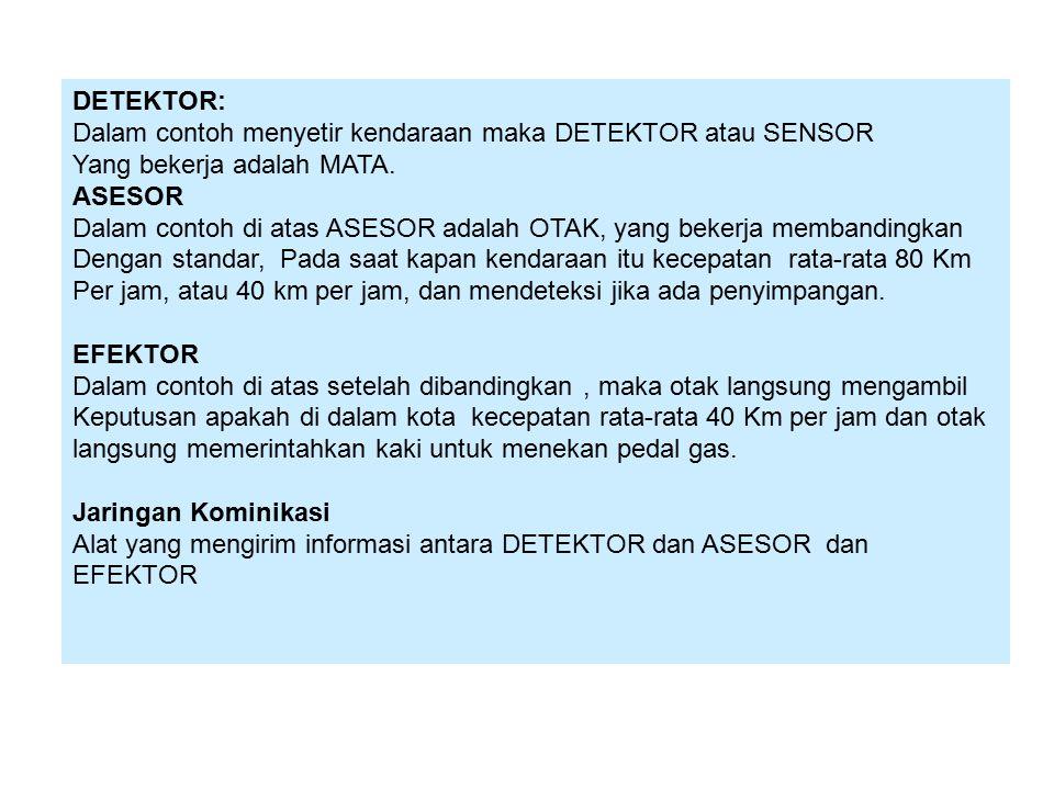 DETEKTOR: Dalam contoh menyetir kendaraan maka DETEKTOR atau SENSOR Yang bekerja adalah MATA.