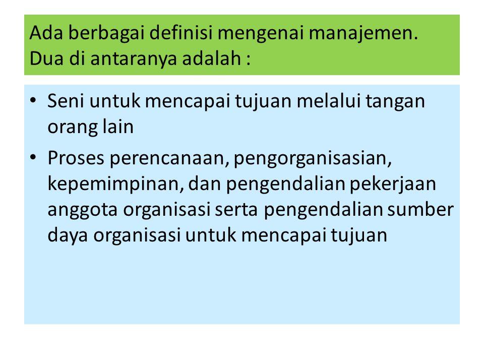 Ada berbagai definisi mengenai manajemen.
