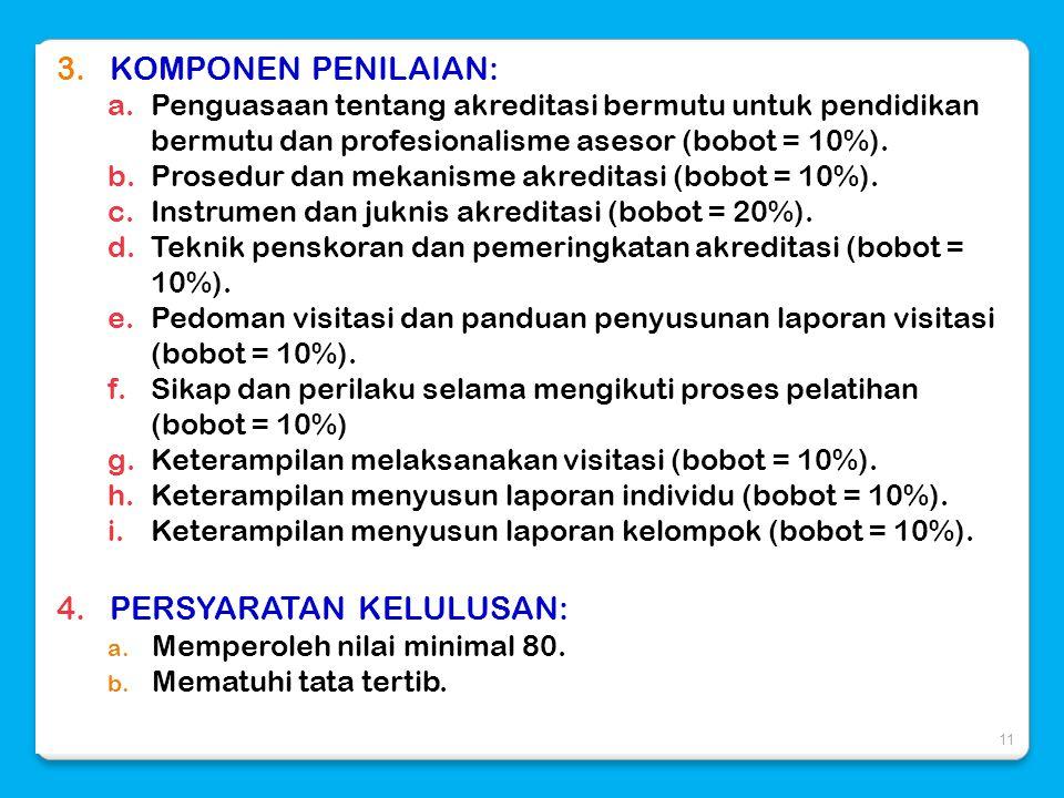 3.KOMPONEN PENILAIAN: a.Penguasaan tentang akreditasi bermutu untuk pendidikan bermutu dan profesionalisme asesor (bobot = 10%). b.Prosedur dan mekani