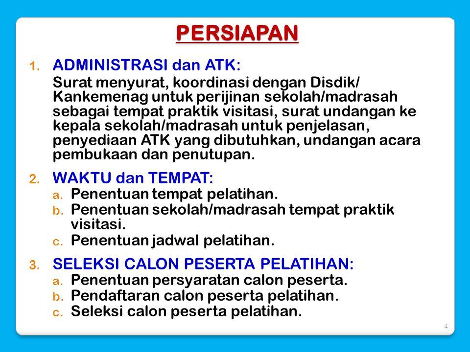 PERSIAPAN 1. ADMINISTRASI dan ATK: Surat menyurat, koordinasi dengan Disdik/ Kankemenag untuk perijinan sekolah/madrasah sebagai tempat praktik visita
