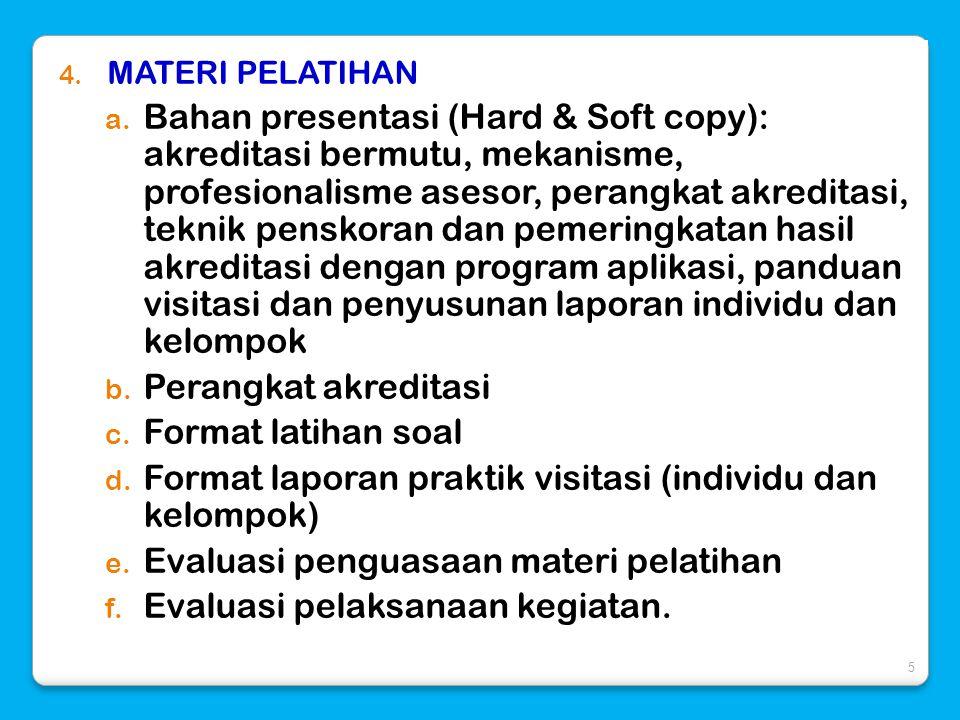 4. MATERI PELATIHAN a. Bahan presentasi (Hard & Soft copy): akreditasi bermutu, mekanisme, profesionalisme asesor, perangkat akreditasi, teknik pensko
