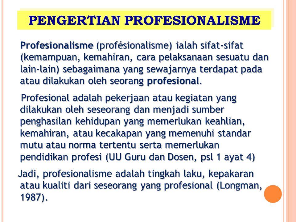 Profesionalisme (profésionalisme) ialah sifat-sifat (kemampuan, kemahiran, cara pelaksanaan sesuatu dan lain-lain) sebagaimana yang sewajarnya terdapa