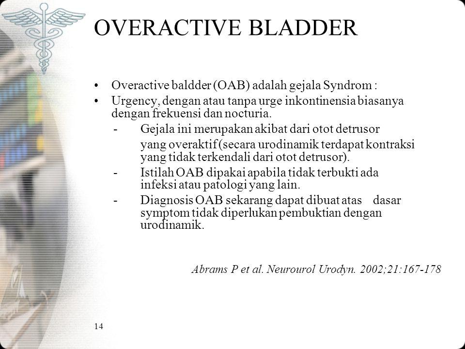 14 OVERACTIVE BLADDER Overactive baldder (OAB) adalah gejala Syndrom : Urgency, dengan atau tanpa urge inkontinensia biasanya dengan frekuensi dan nocturia.