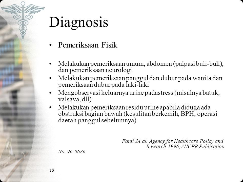 18 Diagnosis Pemeriksaan Fisik Melakukan pemeriksaan umum, abdomen (palpasi buli-buli), dan pemeriksaan neurologi Melakukan pemeriksaan panggul dan du