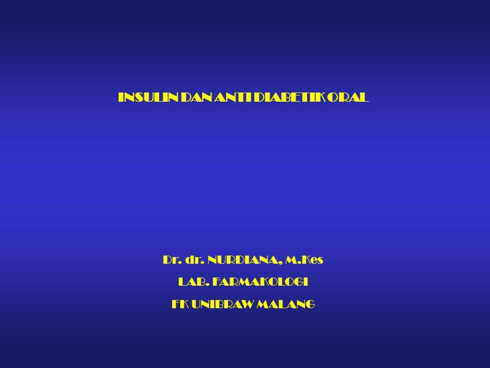INSULIN DAN ANTI DIABETIK ORAL Dr. dr. NURDIANA, M.Kes LAB. FARMAKOLOGI FK UNIBRAW MALANG