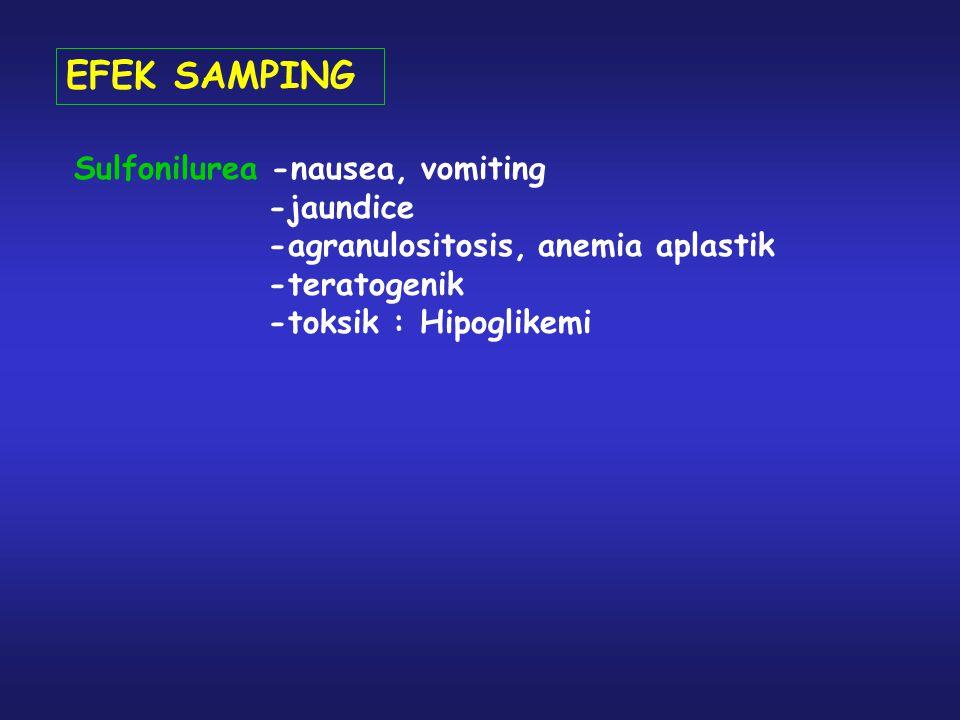 EFEK SAMPING Sulfonilurea -nausea, vomiting -jaundice -agranulositosis, anemia aplastik -teratogenik -toksik : Hipoglikemi