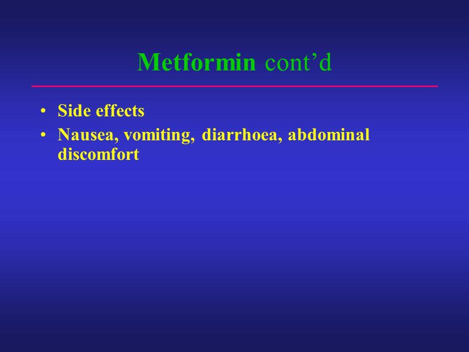 Metformin cont'd Side effects Nausea, vomiting, diarrhoea, abdominal discomfort
