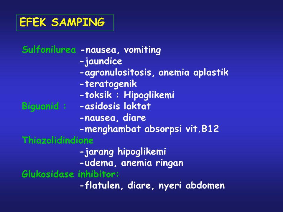 EFEK SAMPING Sulfonilurea -nausea, vomiting -jaundice -agranulositosis, anemia aplastik -teratogenik -toksik : Hipoglikemi Biguanid : -asidosis laktat