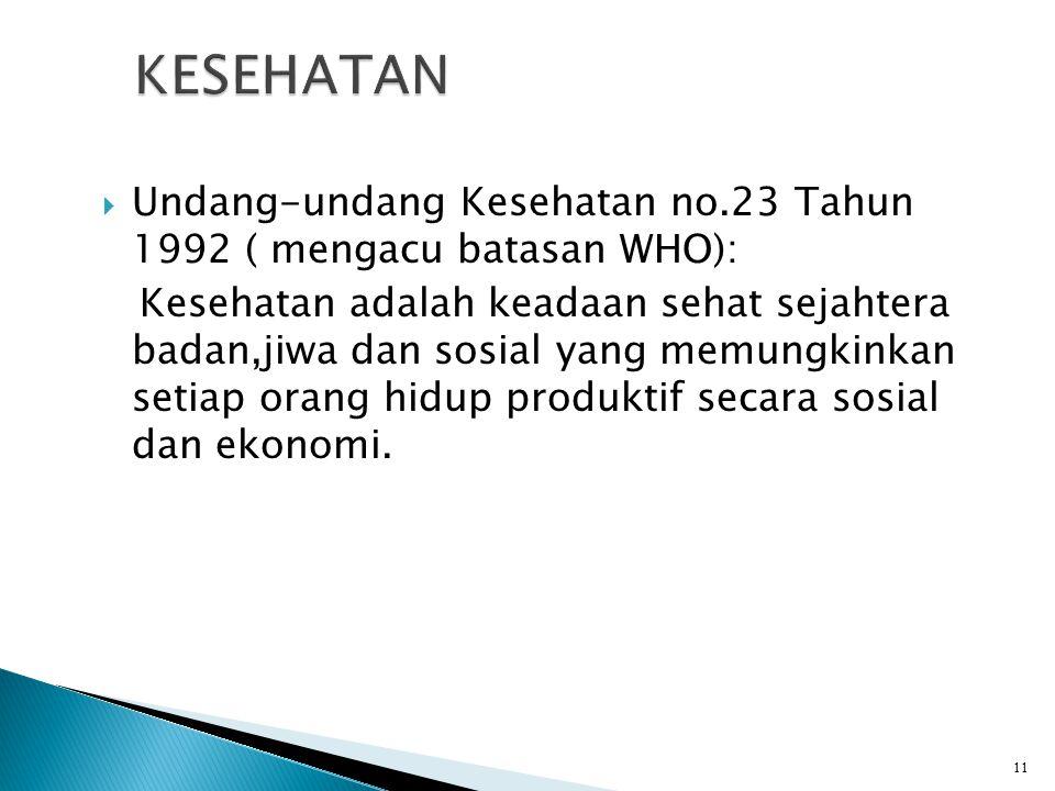  Undang-undang Kesehatan no.23 Tahun 1992 ( mengacu batasan WHO): Kesehatan adalah keadaan sehat sejahtera badan,jiwa dan sosial yang memungkinkan setiap orang hidup produktif secara sosial dan ekonomi.