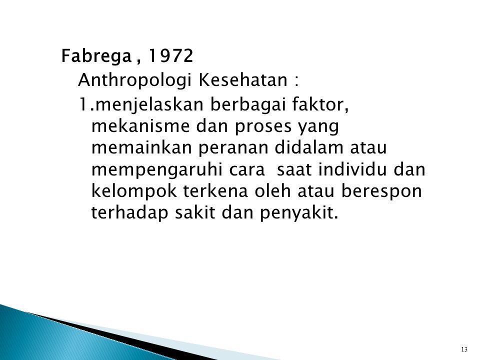 Fabrega, 1972 Anthropologi Kesehatan : 1.menjelaskan berbagai faktor, mekanisme dan proses yang memainkan peranan didalam atau mempengaruhi cara saat individu dan kelompok terkena oleh atau berespon terhadap sakit dan penyakit.
