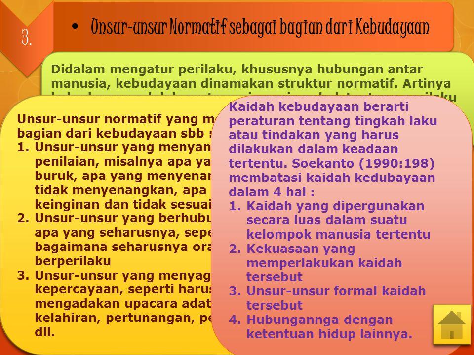 3.3. Unsur-unsur Normatif sebagai bagian dari Kebudayaan Didalam mengatur perilaku, khususnya hubungan antar manusia, kebudayaan dinamakan struktur no