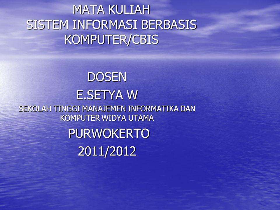 MATA KULIAH SISTEM INFORMASI BERBASIS KOMPUTER/CBIS DOSEN E.SETYA W SEKOLAH TINGGI MANAJEMEN INFORMATIKA DAN KOMPUTER WIDYA UTAMA PURWOKERTO PURWOKERTO2011/2012