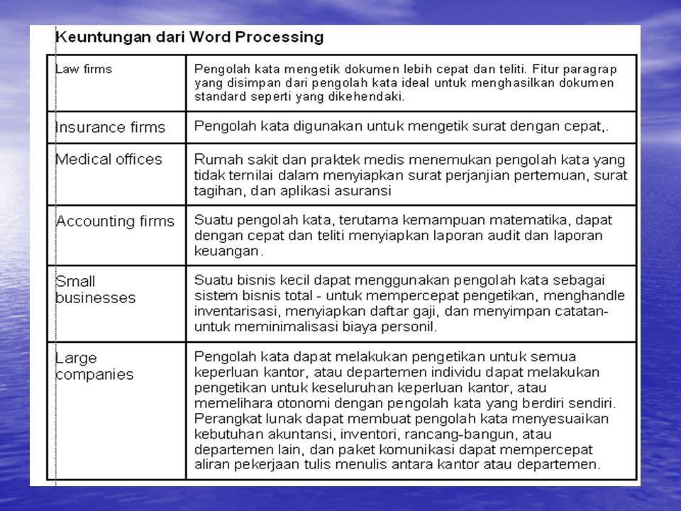 WORD PROCESSING Keuntungan dari Word Processing