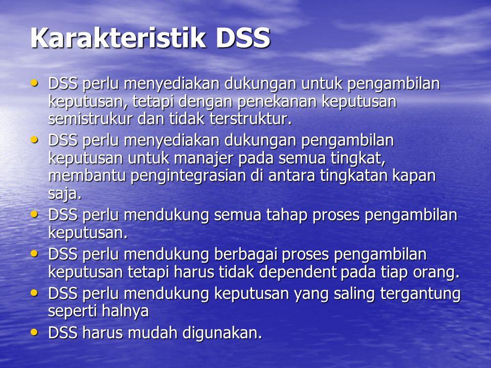 Suatu Definisi DSS DSS adalah suatu sistem interaktif yang menyediakan user akses yang mudah terhadap model keputusan dan data dalam rangka mendukung tugas pengambilan keputusan tidak terstruktur dan semistruktur.
