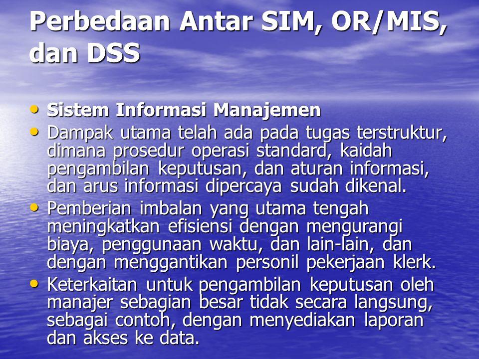 Beberapa Perbedaan Antara SIM dan DSS Harapan terhadap DSS : Harapan terhadap DSS : DSS dapat digunakan untuk menunjuk permasalahan khusus (untuk suatu maksud), tak diduga.
