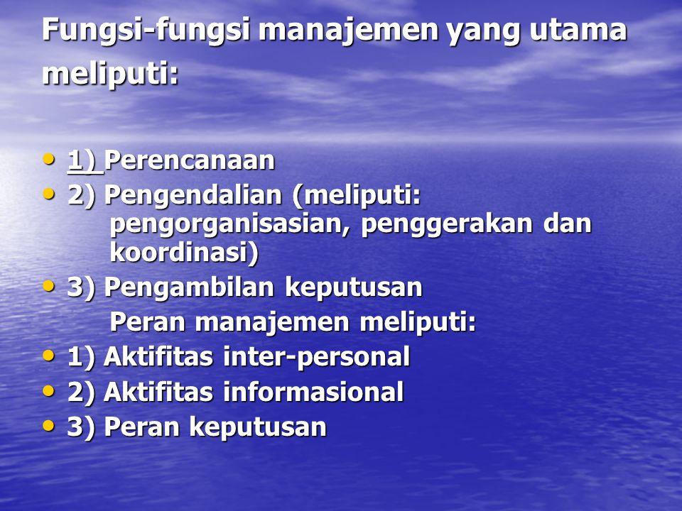 Tingkatan manajer: 1) Tingkat perencanaan yang strategis (strategic planning) 1) Tingkat perencanaan yang strategis (strategic planning) 2) Tingkat pengendalian manajemen (management control) 2) Tingkat pengendalian manajemen (management control) 3) Tingkat pengendalian operasional (operational control) 3) Tingkat pengendalian operasional (operational control) Beberapa area fungsional dalam perusahaan meliputi: Beberapa area fungsional dalam perusahaan meliputi: 1) Manufaktur 1) Manufaktur 2) Pemasaran 2) Pemasaran 3) Keuangan 3) Keuangan 4) Sumber daya manusia 4) Sumber daya manusia 5) Jasa dan informasi 5) Jasa dan informasi