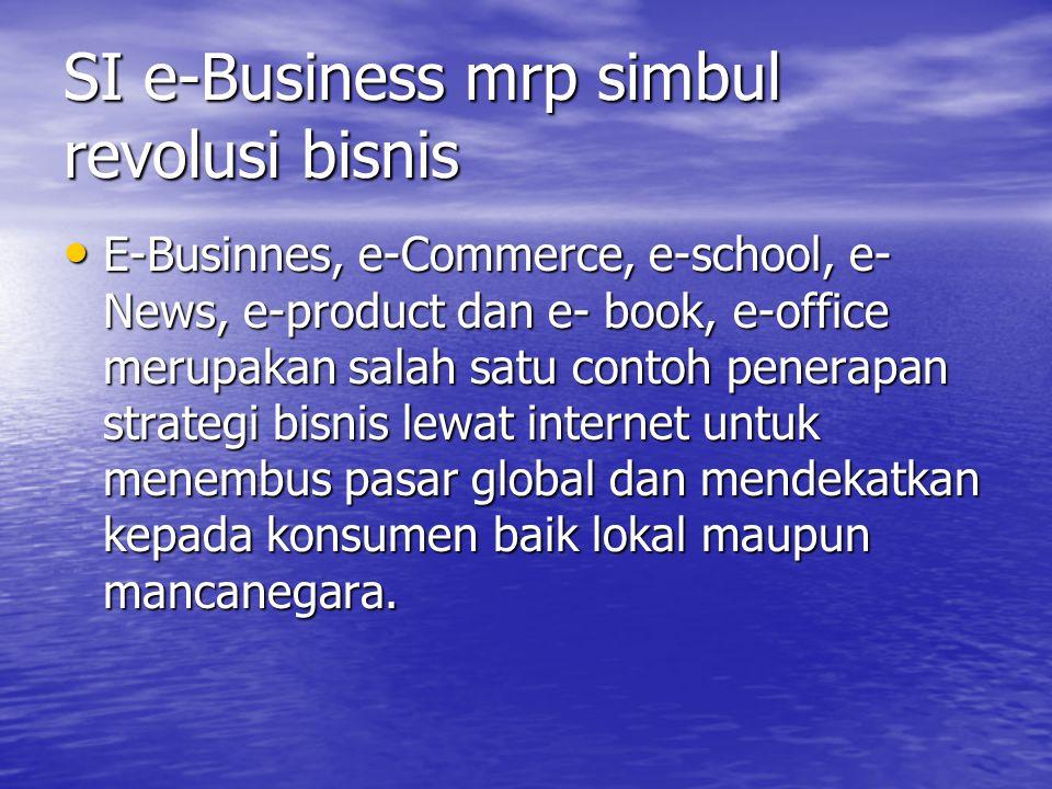 Dampak CBIS dalam bidang Bisnis perusahaan Di Indonesia strategi bisnis melalui pembangunan SI muali meluas misal : Usaha perbankan, distribusi, telekomunikasi, manufaktur, penerbangan, pendidikan, perhotelan, perdagangan dan RS.