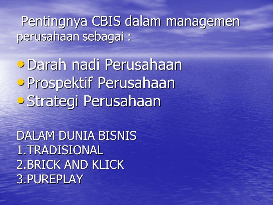 Pentingnya CBIS dalam managemen perusahaan sebagai : Pentingnya CBIS dalam managemen perusahaan sebagai : Darah nadi Perusahaan Darah nadi Perusahaan Prospektif Perusahaan Prospektif Perusahaan Strategi Perusahaan Strategi Perusahaan DALAM DUNIA BISNIS 1.TRADISIONAL 2.BRICK AND KLICK 3.PUREPLAY