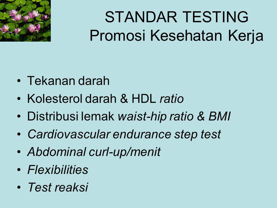 STANDAR TESTING Promosi Kesehatan Kerja Tekanan darah Kolesterol darah & HDL ratio Distribusi lemak waist-hip ratio & BMI Cardiovascular endurance ste