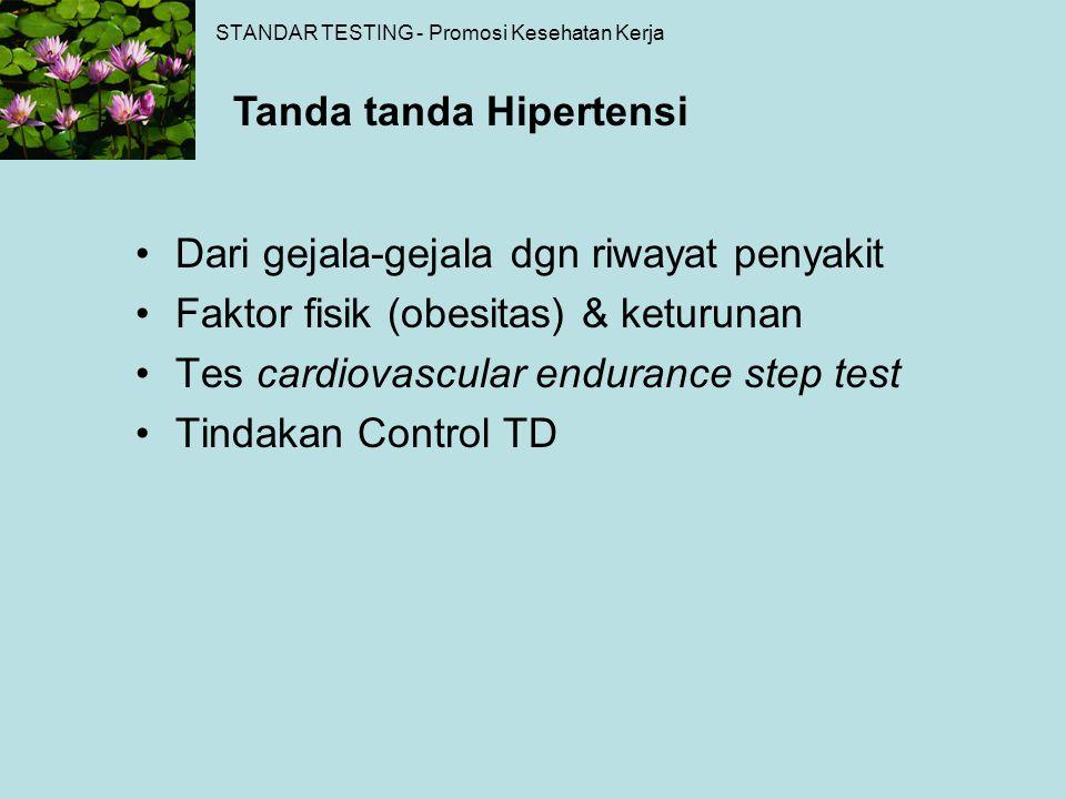 STANDAR TESTING - Promosi Kesehatan Kerja Dari gejala-gejala dgn riwayat penyakit Faktor fisik (obesitas) & keturunan Tes cardiovascular endurance ste