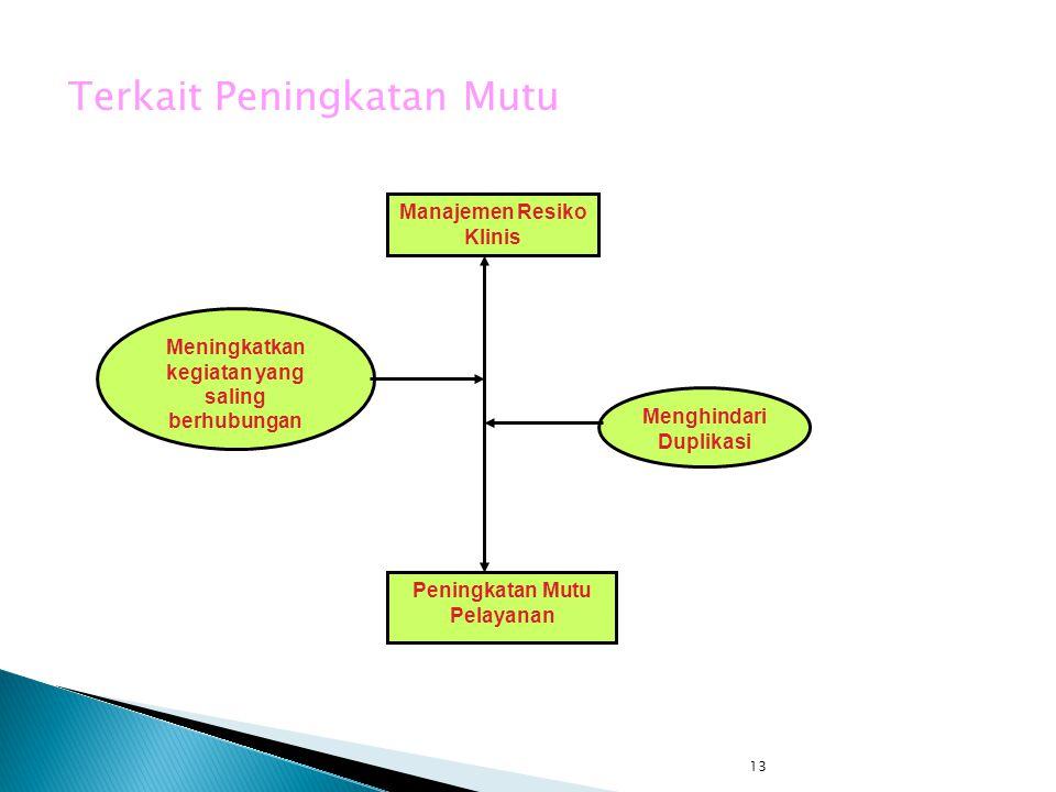 13 Terkait Peningkatan Mutu Manajemen Resiko Klinis Peningkatan Mutu Pelayanan Menghindari Duplikasi Meningkatkan kegiatan yang saling berhubungan