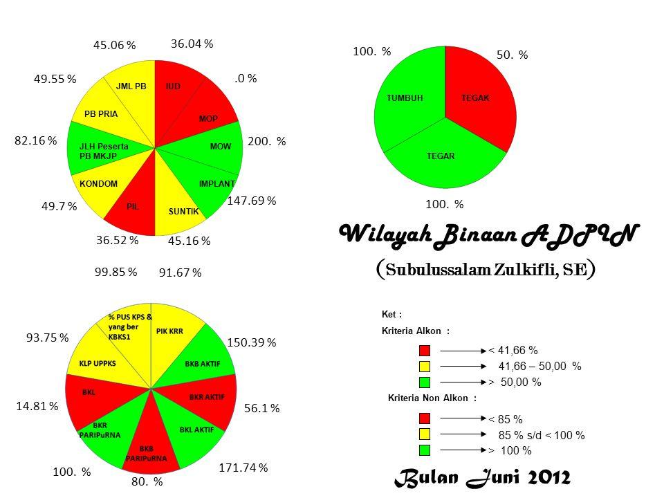 Subulussalam Wilayah Binaan ADPIN ( Subulussalam Zulkifli, SE ) Bulan Juni 2012 < 41,66 % 41,66 – 50,00 % > 50,00 % Ket : Kriteria Alkon : Kriteria Non Alkon : > 100 % 85 % s/d < 100 % < 85 % 36.04 %.0 % 200.