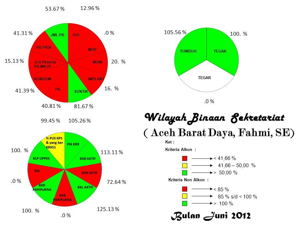 Wilayah Binaan Sekretariat (Aceh Singkil,Muallim) 52.17 % 50.