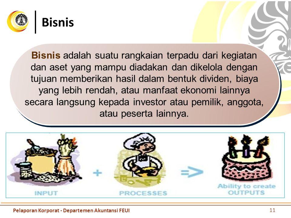 Bisnis Bisnis adalah suatu rangkaian terpadu dari kegiatan dan aset yang mampu diadakan dan dikelola dengan tujuan memberikan hasil dalam bentuk divid
