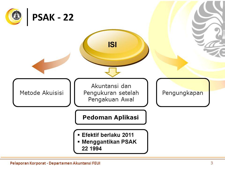 PSAK - 22 Akuntansi dan Pengukuran setelah Pengakuan Awal ISI  Efektif berlaku 2011  Menggantikan PSAK 22 1994 Metode Akuisisi Pengungkapan Pedoman