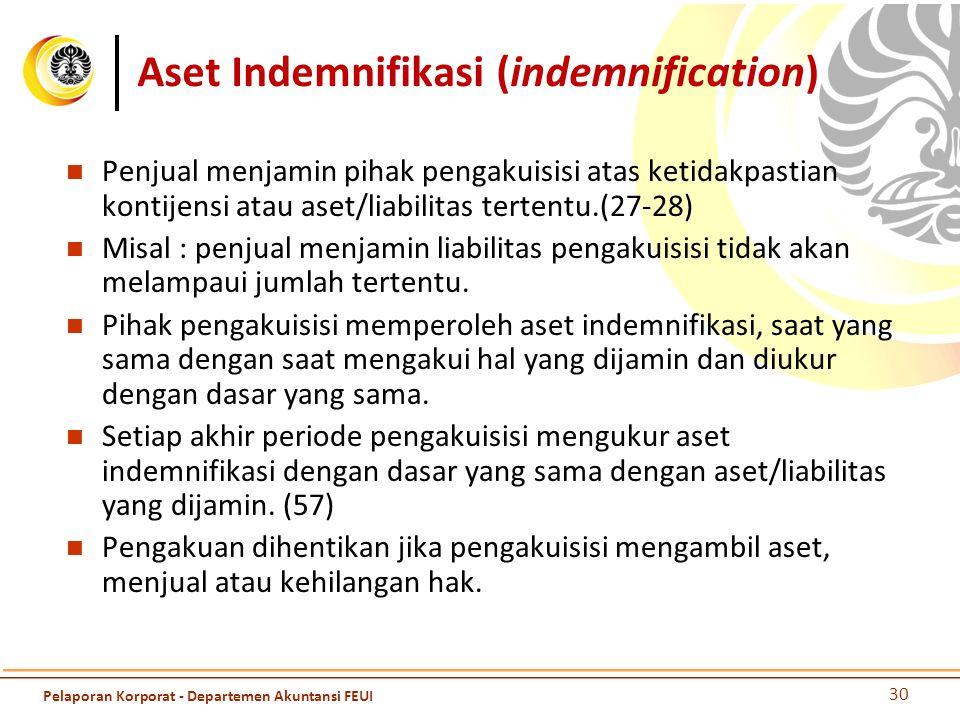 Aset Indemnifikasi (indemnification) Penjual menjamin pihak pengakuisisi atas ketidakpastian kontijensi atau aset/liabilitas tertentu.(27-28) Misal :