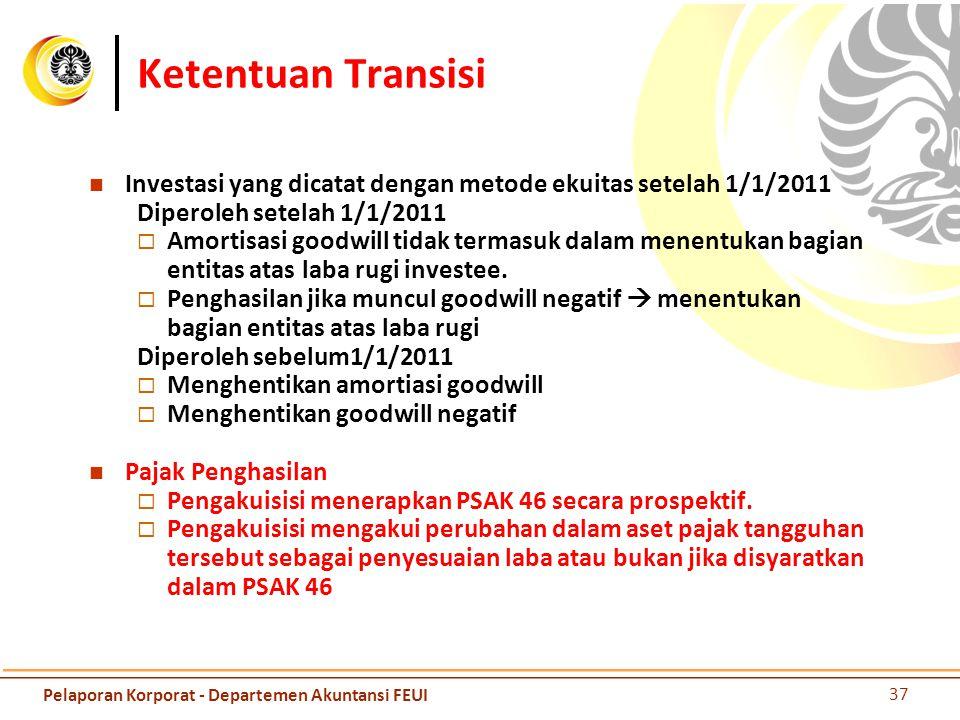 Ketentuan Transisi Investasi yang dicatat dengan metode ekuitas setelah 1/1/2011 Diperoleh setelah 1/1/2011  Amortisasi goodwill tidak termasuk dalam