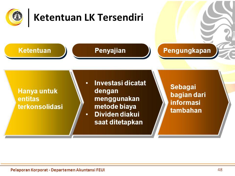48 Pelaporan Korporat - Departemen Akuntansi FEUI Ketentuan LK Tersendiri Sebagai bagian dari informasi tambahan Investasi dicatat dengan menggunakan