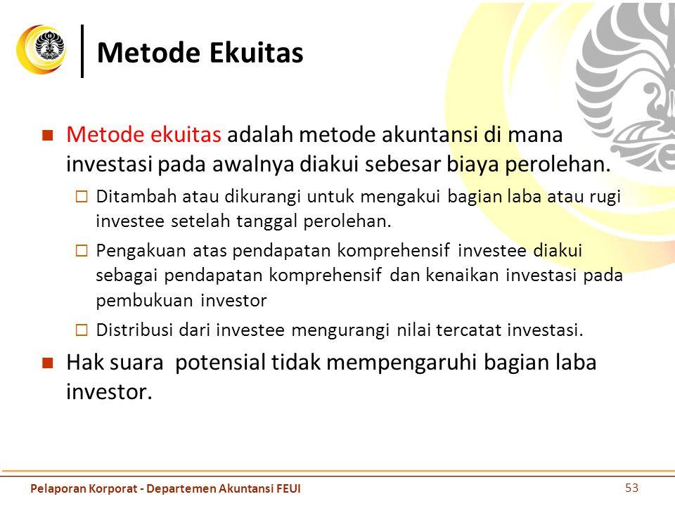 Metode Ekuitas Metode ekuitas adalah metode akuntansi di mana investasi pada awalnya diakui sebesar biaya perolehan.  Ditambah atau dikurangi untuk m