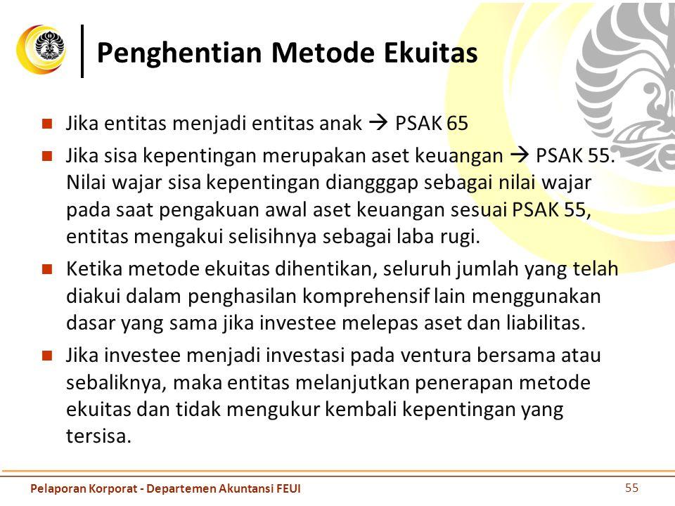 Penghentian Metode Ekuitas Jika entitas menjadi entitas anak  PSAK 65 Jika sisa kepentingan merupakan aset keuangan  PSAK 55. Nilai wajar sisa kepen