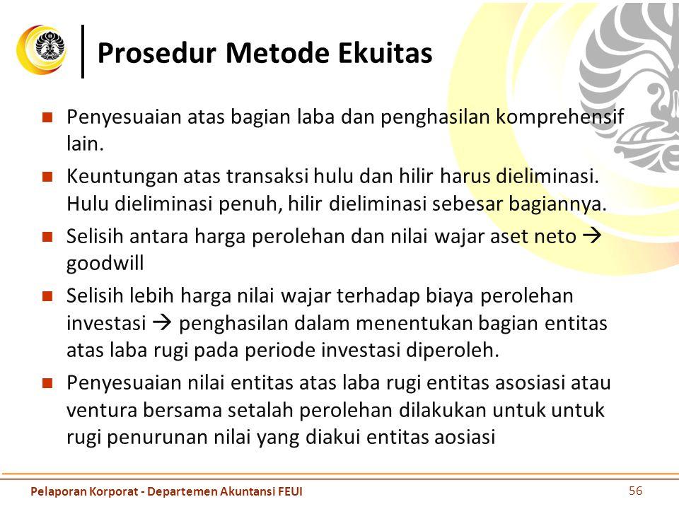 Prosedur Metode Ekuitas Penyesuaian atas bagian laba dan penghasilan komprehensif lain. Keuntungan atas transaksi hulu dan hilir harus dieliminasi. Hu