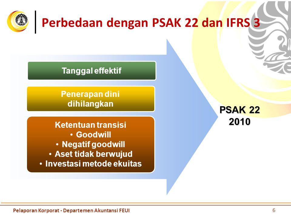 Prinsip dalam PSAK 22 / IFRS R3 Elemen yang dikeluarkan Imbalan diberikan Kepemilikan yang dimiliki sebelumnya Kepentingan non pengenlai Goodwill Aset diidentifikasi dan liabilitas yang dialihkan (entitas yang diakuisisi) Pendekatan dua kolom 7 Pelaporan Korporat - Departemen Akuntansi FEUI