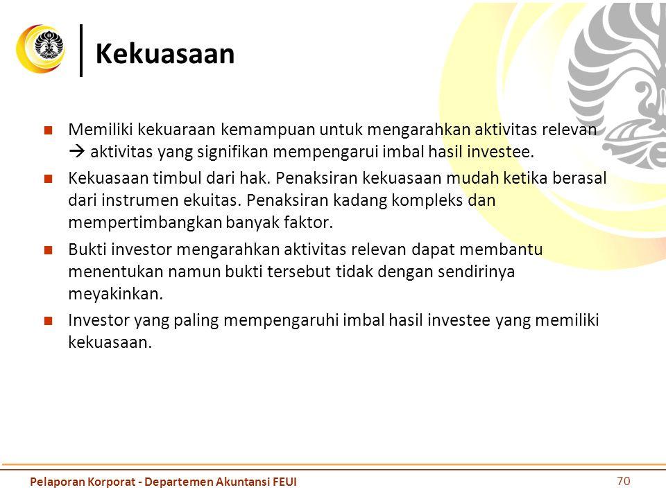 Imbal hasil Investor terekspos atas imbal hasil variabel dengan investee, ketika imbal hasil investor dari keterlibatannya tersebut berpotensi untuk bervariasi sebagai akibat dari kinerja investee.