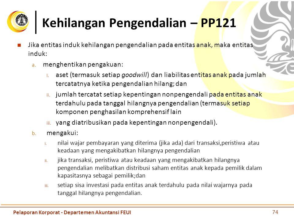Kehilangan Pengendalian – PP121 Jika entitas induk kehilangan pengendalian pada entitas anak, maka entitas induk: a. menghentikan pengakuan: i. aset (