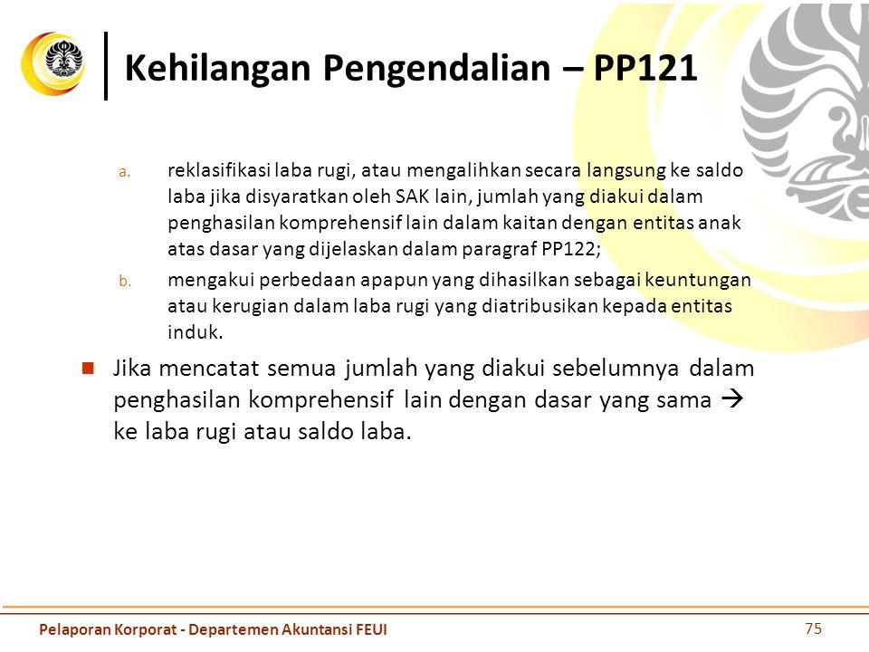 Kehilangan Pengendalian – PP121 a. reklasifikasi laba rugi, atau mengalihkan secara langsung ke saldo laba jika disyaratkan oleh SAK lain, jumlah yang
