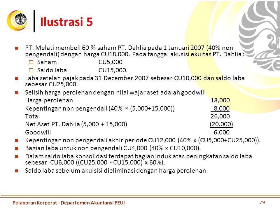 Ilustrasi 5 PT. Melati membeli 60 % saham PT. Dahlia pada 1 Januari 2007 (40% non pengendali) dengan harga CU18.000. Pada tanggal akusisi ekuitas PT.