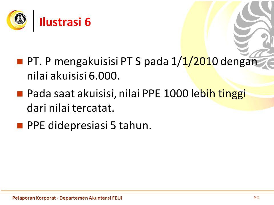 Ilustrasi 6 PT. P mengakuisisi PT S pada 1/1/2010 dengan nilai akuisisi 6.000. Pada saat akuisisi, nilai PPE 1000 lebih tinggi dari nilai tercatat. PP