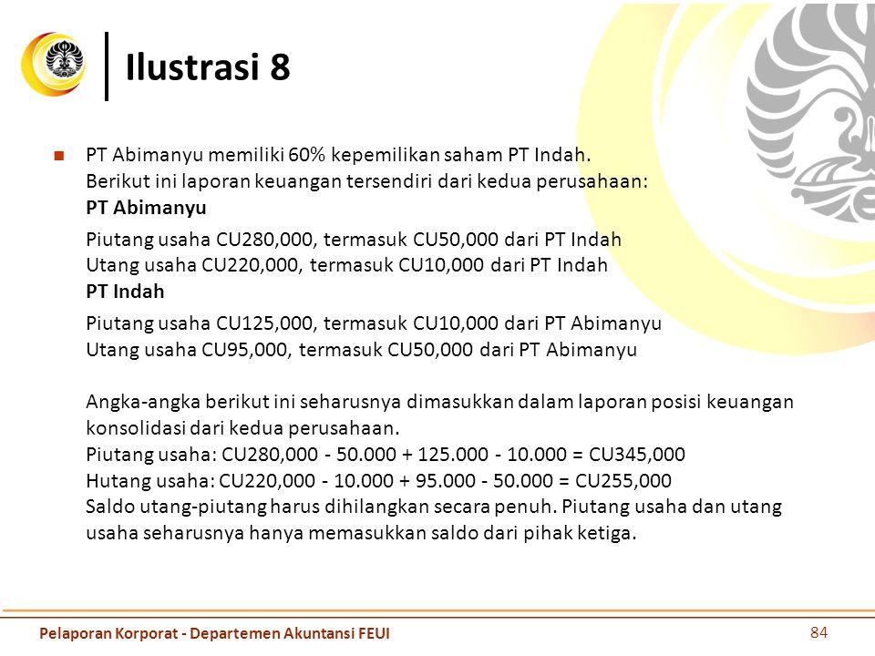 Ilustrasi 8 PT Abimanyu memiliki 60% kepemilikan saham PT Indah. Berikut ini laporan keuangan tersendiri dari kedua perusahaan: PT Abimanyu Piutang us