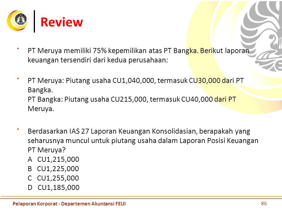 Review PT Meruya memiliki 75% kepemilikan atas PT Bangka. Berikut laporan keuangan tersendiri dari kedua perusahaan: PT Meruya: Piutang usaha CU1,040,