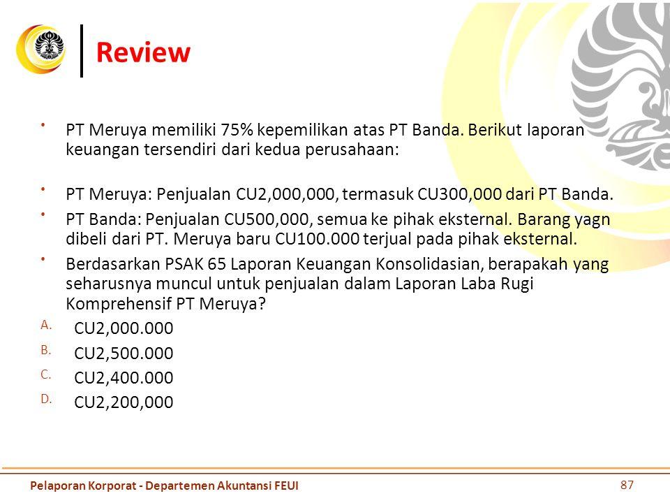 Review PT Meruya memiliki 75% kepemilikan atas PT Banda. Berikut laporan keuangan tersendiri dari kedua perusahaan: PT Meruya: Penjualan CU2,000,000,