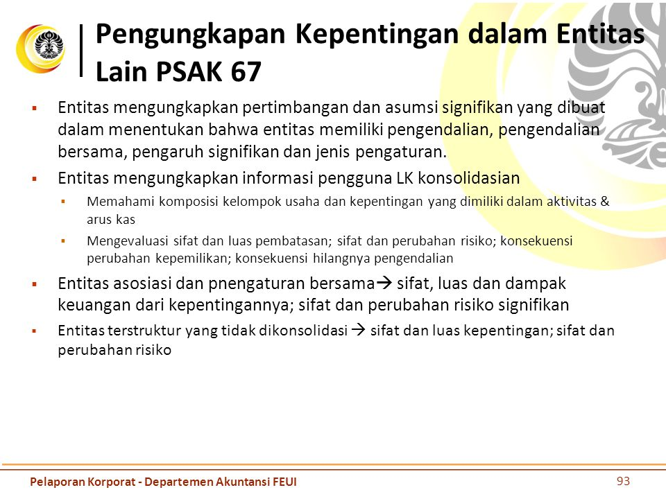 Pengungkapan Kepentingan dalam Entitas Lain PSAK 67  Entitas mengungkapkan pertimbangan dan asumsi signifikan yang dibuat dalam menentukan bahwa enti