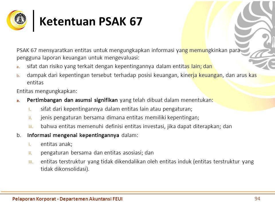Ketentuan PSAK 67 PSAK 67 mensyaratkan entitas untuk mengungkapkan informasi yang memungkinkan para pengguna laporan keuangan untuk mengevaluasi: a. s